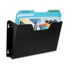 "Dr. Pocket Letter Size Wall Pocket - 1 Pocket(s) - 7.3"" Height x 14.5"" Width x 2.5"" Depth - Wall Mountable, Door-mountable - Black - Steel - 1Each"