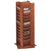 "48-Pocket Wood Rotating Literature Rack - 48 Pocket(s) - 49.5"" Height x 16.8"" Width x 16.8"" Depth - Floor - Medium Oak - Wood - 1Each"