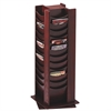 "48 Pockets Wood Rotating Literature Rack - 48 Pocket(s) - 49.5"" Height x 16.8"" Width x 16.8"" Depth - Floor - Mahogany - Wood - 1Each"