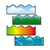 Carson-Dellosa Scalloped Border Strips - Cloud, Grass, Ocean Waves, Rainbow - Pin-up, Glue - Multicolor - Card Stock - 36 / Pack