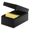 "Card File Box - Internal Dimensions: 5"" Width x 3"" Height - External Dimensions: 5.5"" Width x 8.5"" Depth x 4"" Height - Hinged Closure - Steel - Black - For Card - Recycled - 1 Each"