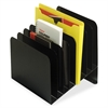 "MMF Slanted Vertical File Organizer - 8 Compartment(s) - 10"" Height x 11"" Width x 10"" Depth - Desktop - Recycled - Black - Steel - 1Each"