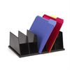 "Desktop File Sorter - 5 Compartment(s) - 9"" Height x 13.5"" Width x 5"" Depth - Desktop - Black - Plastic - 1Each"