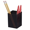 "OIC 3-Compartment Pencil Cup - 4"" x 2.9"" x 2.9"" - 1 Each - Black"