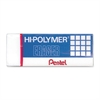 "Pentel Hi-Polymer Non-Abrasive Latex-Free Erasers - Lead Pencil - Block - Non-abrasive, Latex-free - 0.5"" Height x 1.7"" Width x 0.7"" Depth - 1Each - White"