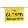 Closed for Cleaning Safety Hanging Sign - 1 Each - Closed for Cleaning Print/Message - Yellow