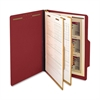 "SJ Paper 2-Divider Classification Folders - Legal - 8 1/2"" x 14"" Sheet Size - 6 Fastener(s) - 2"" Fastener Capacity for Folder - 2 Divider(s) - 25 pt. Folder Thickness - Pressboard - Red - Recycled - 1"