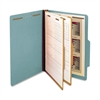 "SJ Paper Classification Folder - Legal - 8 1/2"" x 14"" Sheet Size - 6 Fastener(s) - 2"" Fastener Capacity for Folder - 2 Divider(s) - 25 pt. Folder Thickness - Pressboard - Blue - Recycled - 15 / Box"