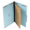 "Classification Folder - Legal - 8 1/2"" x 14"" Sheet Size - 1 1/2"" Expansion - 4 Fastener(s) - 2"" Fastener Capacity for Folder - 1 Divider(s) - 25 pt. Folder Thickness - Pressboard - Blue - Rec"