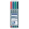 Staedtler Lumocolor Fine Point Waterbased Marker - Fine Point Type - 0.6 mm Point Size - Refillable - Red, Blue, Green, Black Water Based Ink - Gray Polypropylene Barrel - 4 / Set