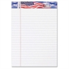 "TOPS American Pride Binding Legal Writing Tablet - 50 Sheets - Strip - 16 lb Basis Weight - Jr.Legal 5"" x 8"" - Canary Paper - Perforated, Bleed Resistant - 3 / Pack"