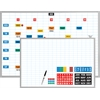 "Economy Planner Board Kit - 36"" x 24"" - Steel, Aluminum - White"