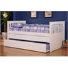 Twin Rake Bed with Trundle, 3 Underbed Drawers, and Desk, Hutch, and Chair in White