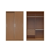 Chelsea 1.0 - 54.33 inch Wide Double Basic Wardrobe with 3 Drawers and 2 Sliding Doors in Maple Cream