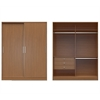 Manhattan Comfort  Chelsea 2.0 - 70.07 inch Wide Double Basic Wardrobe with 3 Drawers and  2 Sliding Doors  in Maple Cream