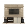 Carnegie TV Stand and Park 1.8 Floating Wall TV Panel with LED Lights in Natue and Nude