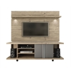 Carnegie TV Stand and Park 1.8 Floating Wall TV Panel with LED Lights in Natue and Onyx