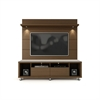 Manhattan Comfort Cabrini TV Stand and Floating Wall TV Panel with LED Lights 1.8 in  Nut Brown