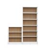 Greenwich 2- Piece Bookcase 9- Wide Shelves in White Matte and Maple Cream