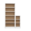 Greenwich 2- Piece Bookcase 9- Wide and Narrow Shelves in White Matte and Maple Cream