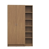 Manhattan Comfort Greenwich 2- Piece Bookcase 12- Wide and Narrow Shelves with 2 Wide Doors in Maple Cream
