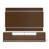 Vanderbilt TV Stand and Lincoln 2.2 Floating Wall TV Panel with LED Lights in Nut Brown