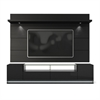 Manhattan Comfort Vanderbilt TV Stand and Cabrini 2.2 Floating Wall TV Panel with LED Lights in Black Gloss and Black Matte
