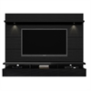 Manhattan Comfort Cabrini 2.2 Floating Wall Theater Entertainment Center in Black Gloss and Black Matte