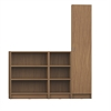 Manhattan Comfort Greenwich 3- Piece Bookcase 12- Wide and Narrow Shelves with 1 Narrow Door in Maple Cream