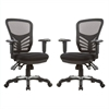 Manhattan Comfort Governor Executive Mesh High-Back Adjustable Office Chair in Black- Set of 2
