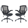 Lenox Mesh Adjustable Office Chair in Black- Set of 2