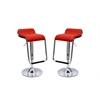 Manhattan Comfort Sophisticated Horatio Barstool with a Hanging Footrest in Red -Set of 2