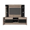 Manhattan Comfort 2- Shelf Morning Side Entertainment Center in Nature and Black/ Pro-Touch/Metallic Nude