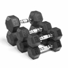 XMark Fitness Premium Quality, Rubber Coated Hex Dumbbells are Built Tough, Built to Last XM-3301-1025-C