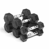 XMark Fitness Premium Quality,  Rubber Coated Hex Dumbbells are Built Tough, Built to Last XM-3301-515-A