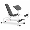FID Flat Incline Decline Weight Bench has Eight Back Pad Adjustments from Decline to Full Military Press Position, a Fixed Leg Extension and Removable Preacher Curl XM-4419-WHITE (White)