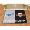 "FANMATS MLB - Los Angeles Dodgers - MLB - San Francisco Giants House Divided Rugs 33.75""x42.5"""