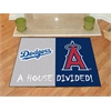 "FANMATS MLB - Los Angeles Dodgers - Anaheim Angels House Divided Rugs 33.75""x42.5"""