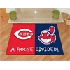 "FANMATS MLB - Cincinnati Reds - MLB - Cleveland Indians House Divided Rugs 33.75""x42.5"""