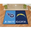 "FANMATS NFL - San Diego Chargers - Tennessee Titans House Divided Rugs 33.75""x42.5"""