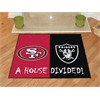 """FANMATS NFL - San Francisco 49ers - Oakland Raiders House Divided Rugs 33.75""""x42.5"""""""
