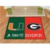 "FANMATS Miami Hurricanes - Georgia Bulldogs House Divided Rugs 33.75""x42.5"""
