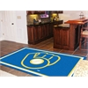 "FANMATS MLB - Milwaukee Brewers ""Ball in Glove"" Rug 5'x8'"
