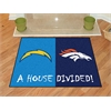 "FANMATS NFL - San Diego Chargers/Denver Broncos House Divided Rugs 33.75""x42.5"""