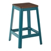 "Hammond 26"" Metal Barstool with Darkwood Seat and Frosted Teal Frame Finish KD"