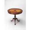Butler Carissa Olive Ash Burl Round Pedestal Table, Olive Ash Burl