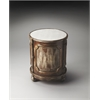 Thurmond Mirrored Ash Drum Table, Mirrored Ash
