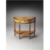 Mozart Light Hand Painted Demilune Console Table, Light Hand Painted