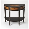 Mozart Coffee Hand Painted Demilune Console Table, Coffee Hand Painted