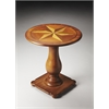 Edenbridge Olive Ash Burl Inlaid Pedestal Table, Olive Ash Burl
